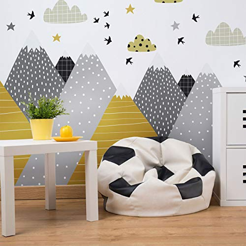 Wandaufkleber, selbstklebend, für Kinder, Riesen-Dekoration, skandinavische Berge für Kinderzimmer, Henrika, 55 x 110 cm