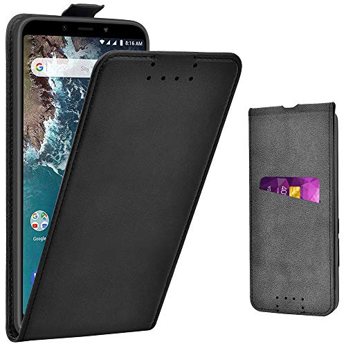 Adicase Xiaomi Mi A2 Hülle Leder Tasche für Xiaomi Mi A2/6X Handyhülle Flip Hülle Schutzhülle (Schwarz)