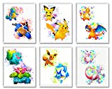 Pokemon Posters Wall Decor – Unframed Set of 6 Prints 8x10 Inch, Watercolor Anime for Kids Room Decoration Pichu Pikachu Charmander Charizard Squirtle Blastoise Bulbasaur Venusaur Eevee Mew Mewtwo