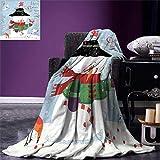 Cy-ril Manta de muñeco de Nieve Tema de Navidad y Año Nuevo Muñeco de Nieve Encantador con pájaros Bastón de Caramelo Telón de Fondo Sucio Manta de Microfibra cálida 100 x130 cm