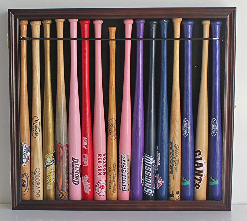 Mini 18' Baseball Mini Bat Display Case Cabinet Holder Rack w/98% UV Lockable Holds 16 Bats...