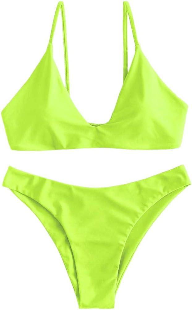 Zaful - costume da bagno da donna due pezzi con reggiseno imbottito in nylon e spandex Verde E Giallo