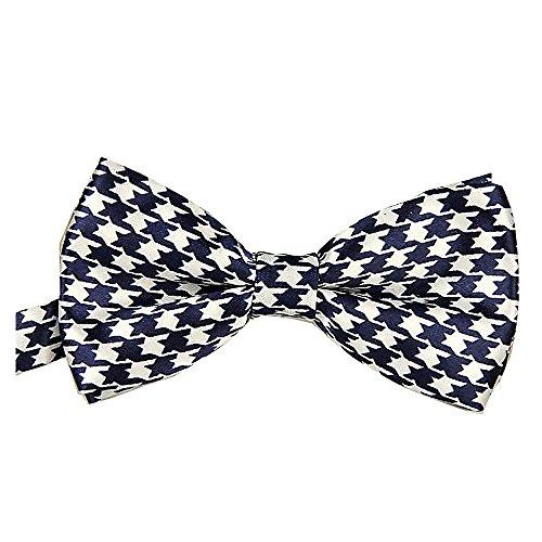Seta finire Moda Cravatta a farfalla. Dicky pre-legato elastico per matrimoni (Blu & Controllare Bianco)