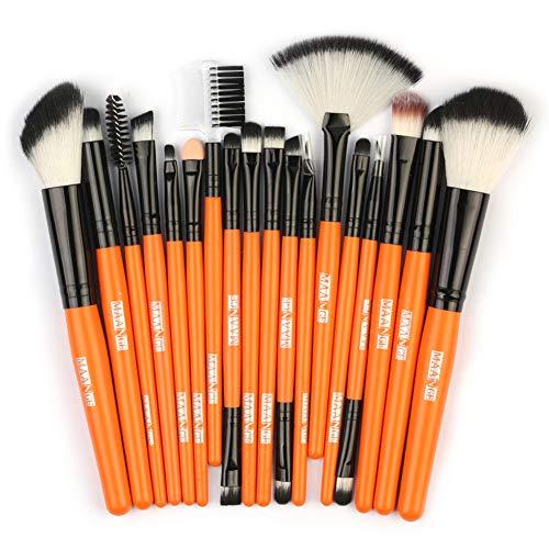 Ardorlove 18 Stks Make-up Borstels Kit Foundation Losse Poeder Oogschaduw Lip Eyeliner Fan Borstel Wenkbrauw Kam Cosmetische Gereedschap Oranje Zwart
