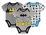 DC Comics Boys' Batman Baby Costume Onesie Bodysuits 3 Pack (Light Grey/Grey/White, 6-9 Months)