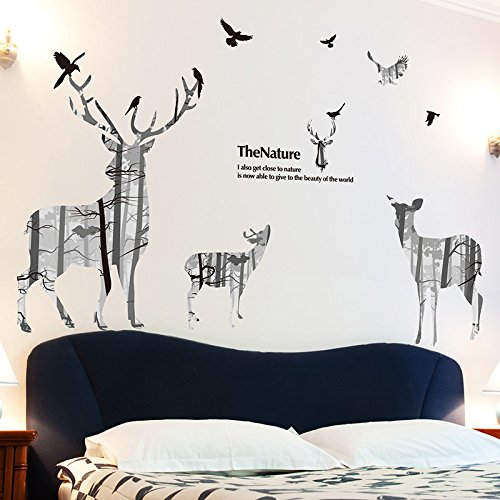 Zelfklevende muursticker Stickers Superimposed Elk Creatieve Persoonlijkheid Woonkamer Slaapkamer Slaapbank Achtergrond Wanddecoratie