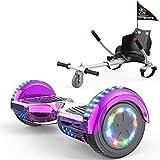COLORWAY Hoverboard Hover Scooter Board 6,5' con Asiento Kart con Ruedas de Flash LED, Patinete Eléctrico Altavoz Bluetooth y LED, Autoequilibrio de Scooter Eléctrico (Rose-Blanco)