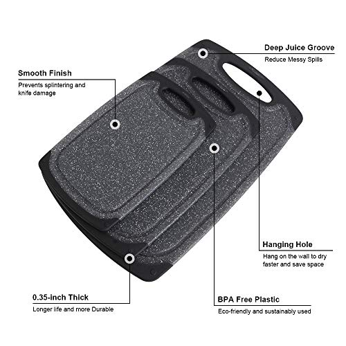 Plastic Cutting Board for Kitchen,Haomacro Cutting Board BPA Free Non Slip Juice Grooves Dishwasher Safe Non Porous Set of 3 Chopping Boards Easy Grip Handle Easy To Clean Black