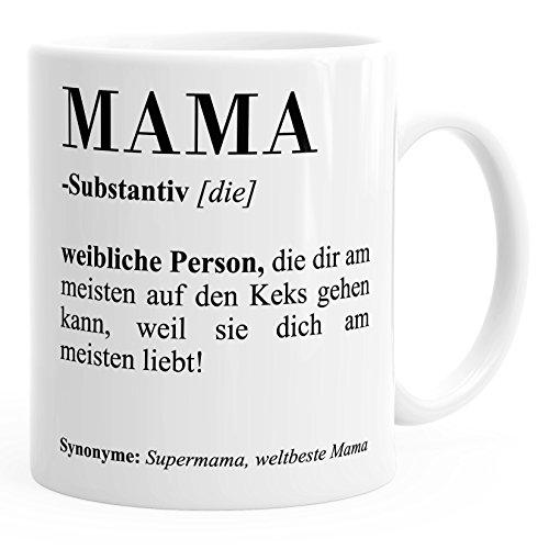 Kaffee-Tasse Mama Papa Bruder Schwester Definition Dictionary Wörterbuch Duden Geschenk-Tasse Muttertag MoonWorks® Mama weiß unisize