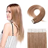 Tape in Hair Extensions 100% Remy Human Hair 12''-24'' Double Side Tape Seamless Skin Weft Natural Hair Extensions 40pcs Long Straight Silky for Women and Girls (14 inch 80g,#27 Dark Blonde)