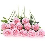 12 PCS Artificial Flowers Roses Silk Flowers Fake Long Stem Artificial Roses for Home Wendding Decorations (Pink)