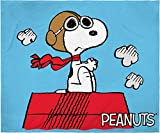 INTIMO Peanuts Snoopy The Flying Ace and The Red Baron Dogfight Fleece Plush Silk Touch Throw Blanket