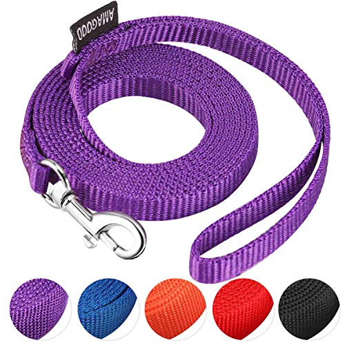 """AMAGOOD 6 FT Puppy/Dog Leash, Strong and Durable Traditional Style Leash with Easy to Use Collar Hook,Dog Lead Great for Small and Medium and Large Dog(Purple,3/8"""" x 6 Feet)"""