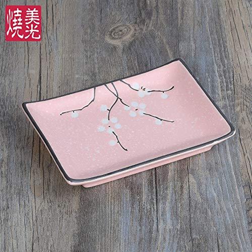 TapTheDinner Butterdose Keramik, Alte China Rustikalen Neuheit Original Design Pflaume Blumen Rosa 6,8 Zoll Rechteckig Porzellan Platte Für Abendessen Butter Frühstück Salat Dessert Snack Soße Sushi