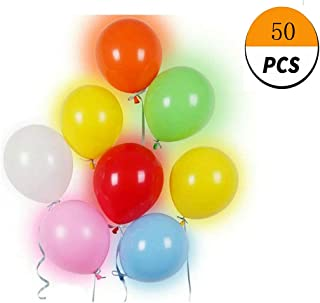 GETIEN Glow Party Balloons LED Balloons Flashing Lights 12-24 Hours Party Supplies Birthday Decorations Halloween Party (Color Light Mixed Color Balloon, 50)