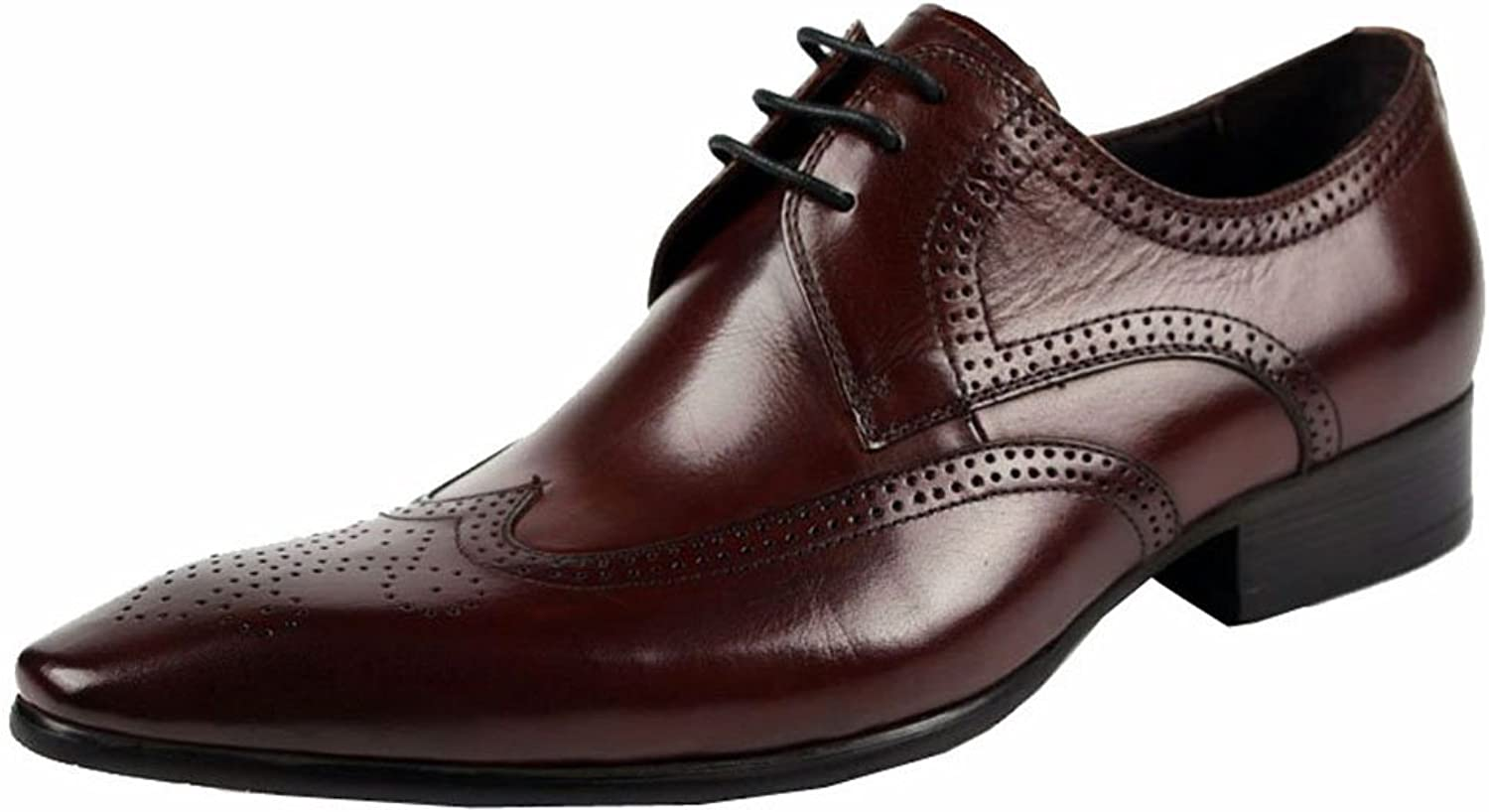 Wuf Mens Real Leather Dress shoes Brogues Wing Tip