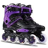 Filudya Roller Skates Inline Skates Skating Adult,Roller Skates for Women and Man Brush Street Comfortable,Beginners Outdoor Skates with Durable Skating Wheel and Thicker Frame Base (Black Purple,9)