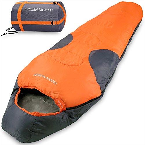 Mountaineer Frozen Mummy Schlafsack Mumienschlafsack Deckenschalfsack mit Kapuze - Leicht mit kompakter Tragetasche - Farbe Orange-Anthrazit