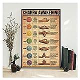 CBYLDDD Vintage Pósteres Yoga Chakra Despertar Pintura Pintura Yoga Movimiento Mano Moderno Láminas Láminas Fotografías Sala de Estar Decoración de la casa 20x28 Sin Marco
