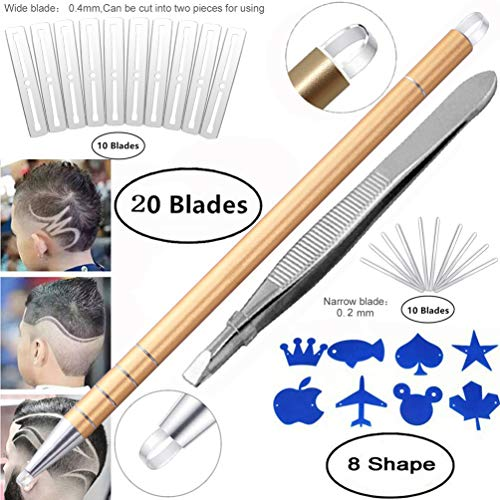 Professional Barber Hair Eyebrow Tattoo Razor Pen For Men & Women – Best Hair Cutting Device For Hair Art Design (Engraving Pen + 20 Stainless Steel Blades + Tweezers) Magic Haircut Razor Point Kit