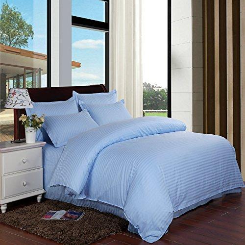 THUMBGEEK Juego de 4 piezas de alta calidad, brocado jacquard blanco con fibras de algodón puro a rayas ultra largas para colchón de 40 cm de profundidad (azul)