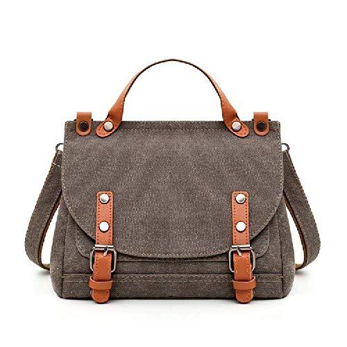 Frauentasche Retro Doctor Bag Canvas Bag Portable Messenger Bag Große Kapazität Pendler Damen Schultertasche, Grau - grau - Größe: Einheitsgröße