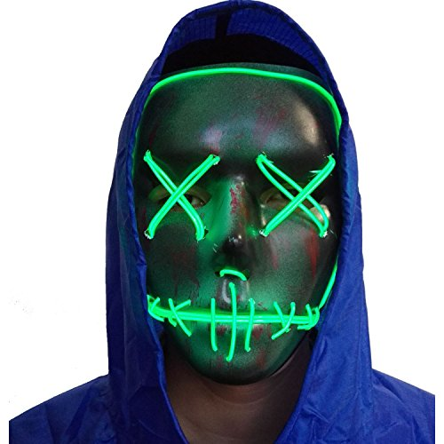 A-MORE Halloween Mask Cosplay LED Glow Scary EL Wire Light up Grin Masks for Festival Parties Costume (Green 2)