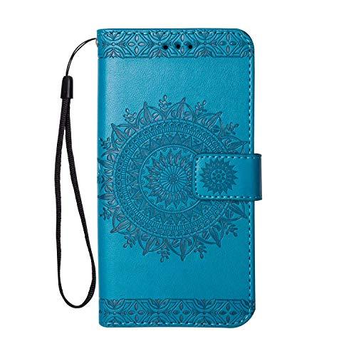 Galaxy S6 Edge Hülle, SONWO Premium Prägung Mandala PU Lederhülle Flip Brieftasche Hülle Cover Schale Ständer Etui Wallet Tasche Case Schutzhülle für Samsung Galaxy S6 Edge, Blau