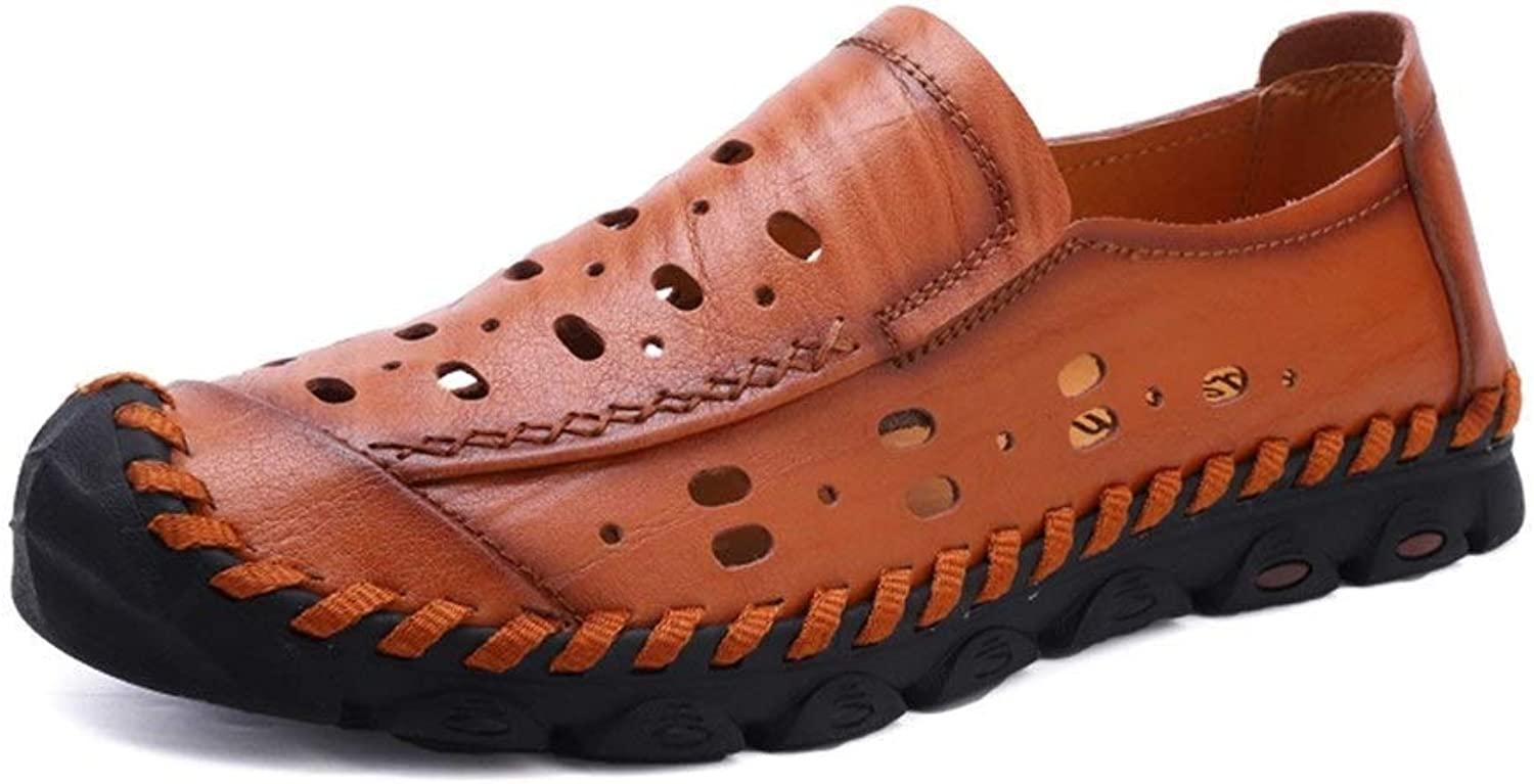 BAIJJ Mens Summer Sandals, Mode Mode Sandale Slip On Style OX Leder Anti-Kollision Toe atmungsaktiv Hohl Vamp Freizeitschuhe (Farbe  Rotbraun, Größe  5,5 UK)  zurückhaltende Luxus-Konnotation