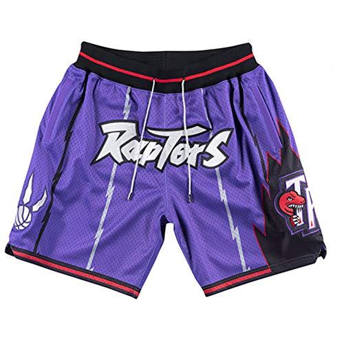 PQMW Raptors Herren Basketball Shorts, Fan Edition Shorts Sommer Retro Fitness Mesh Atmungsaktive Hosen Mit Taschen Und Kordelzug ~ Lila (S-XXL)-Purple-M