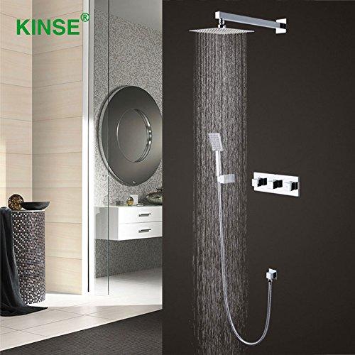 Luxurious shower KINSE Messing Chrom Badezimmer Dusche Wasserhahn Mischer heißem und kaltem Großen Niederschlag Square Dusche einstellen