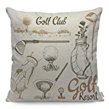Wozukia Golf Throw Pillow Covers Set with Basket Shoes Putter Ball Gloves Flag Bag Sports Equipment Golf Club Square Pillow Case Cushion Cover for Home Car Decorative Cotton Linen 18x18 Inch