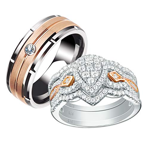 Newshe Wedding Rings Set for Him and Her Women Mens Tungsten Bands Sterling Silver Cz Rose Gold Size 11&8