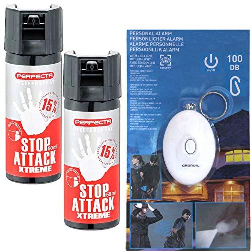 2 Dosen Pfefferspray Stop Attack Xtreme von Perfecta mit gratis Schrill-Alarm