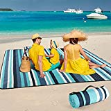 ZAZE Picnic BlanketsBeach Blanket,80''x80'' Extra LargeThick 3-Layers, Sandproof Machine WashableWaterproofFoldableOversized XLOutdoor Mat,forCamping,Park, Travel, Grass(Blue White Stripe)
