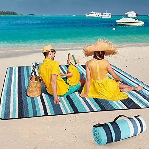 ZAZE Picnic BlanketsBeach Blanket,80''x80'' Extra LargeThick 3-Layers, Sandproof Machine WashableWaterproofFoldableOversized XLOutdoor...
