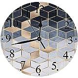 LUHUN Reloj de Pared Moderno,Cubo Cubos Patrón Abstracto Moderno Azul Oro Geometría Geométricareloj de Cuarzo de Cuarzo Redondo No-Ticking para Sala de Estar 30 cm