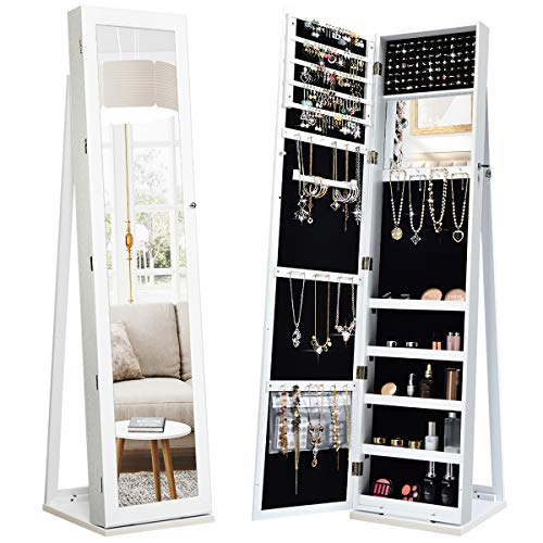 CHARMAID Standing Jewelry Armoire with Higher Full Length Mirror, 2-in-1 Lockable Jewelry Cabinet Organizer with Large Storage Capacity, Inside Makeup Mirror, Stable Base, Easy Assembly (White)