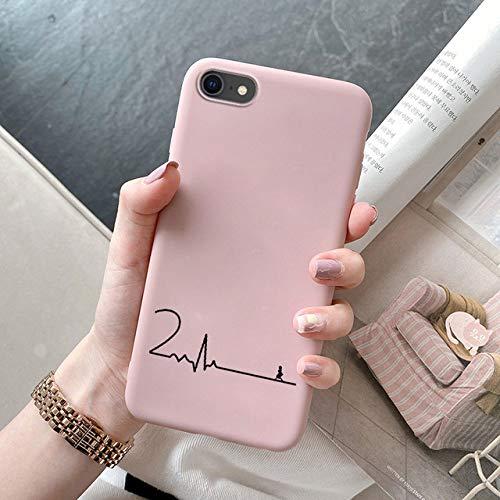 ZXMDP Electrocardiograma con Amor Pareja ECG Funda para teléfono para iPhone 12 11Pro MAX X XS MAX XR 7 Plus 6S 7 8 Plus SE 2021 Funda de Silicona, Rosa CP ECG, para iPhone XR