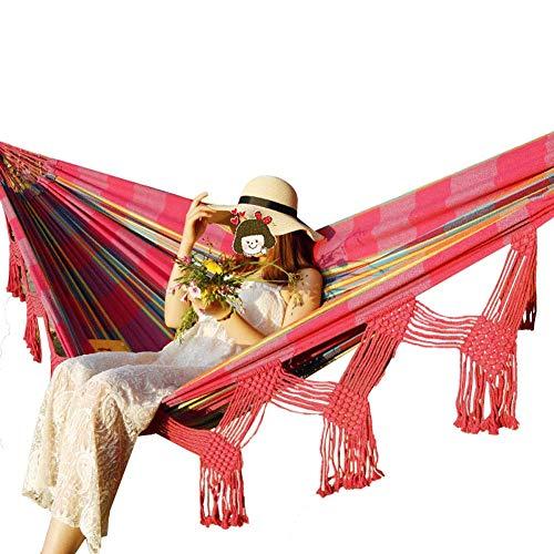 Tassel Hangmat, Chinese Knoop Tassel Vorm, polyester en katoen Canvas Materiaal, dragende prestaties 200kg, geschikt voor thuis Garden Beach Camping