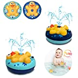 Calornest Baby Bath Toys, Automatic Rotating Spray Water Bathtub Toys, Induction Sprinkler Shower Toys for Toddlers Infants Kids Boys Girls(2 pcs)