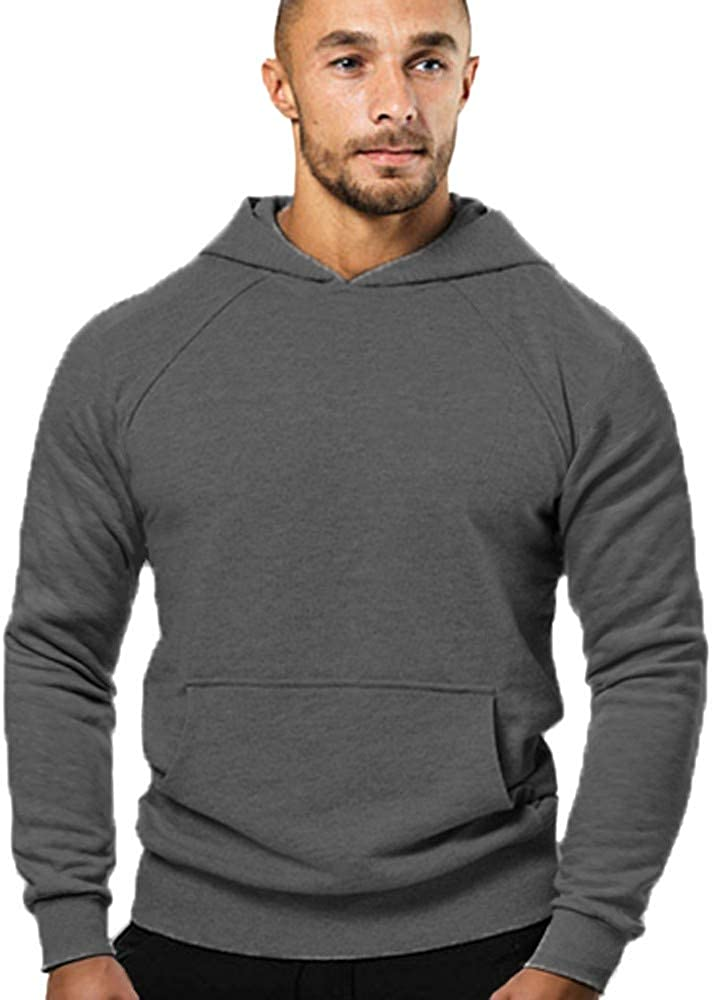 MODOQO Men's Pullover Sweatshirt Long Sleeve Casual Solid Lightweight Hoodies