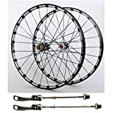 RC233 Ultralight Mountain Bike Wheel Set Aluminum Alloy Rim 120 Sounds 5 Bearing 26'/27.5'/29' Bicycle Disc Brake Quick Release Carbon Fiber Hollow Out Black Hub(Front Wheel+Rear Wheel)