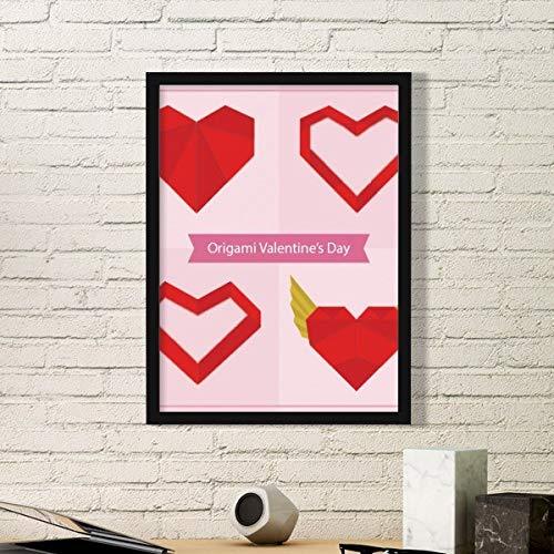 DIYthinker Arte Abstracto Rojo del Navidad del corazón de Origami Pintura Foto de la Imagen del rectángulo de Madera del hogar del Marco Regalo decoración de la Pared Medio Negro