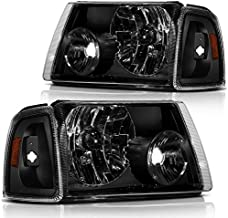 ECCPP Headlight Assembly For Ford Ranger 2001-2011 Headlamps Black Housing Amber Reflector Clear Lens