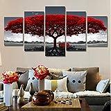 RDCHY Cuadro Lienzo Moderno 5 Piezas Campo Flor roja arbol HD Imagen De Póster Impresión Artística, Combinación Pintura Decorativa para Salón De Hogar/Enmarcado