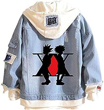 LAKITY Hunter x Hunter Denim Jacket Anime Cosplay Costume Printing Pullover Killua Hisoka Gon Sweatshirts B Medium
