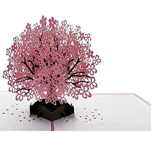 Pop up kort 3D-gratulationskort - Köp ett popup-kort med körsbärsblommor + extra presentkort för att överraska dem med en 3D-vy