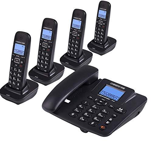 NanXi Teléfono, teléfono inalámbrico Digital, teléfono Fijo inalámbrico Inteligente Fijo,Negro,4niños