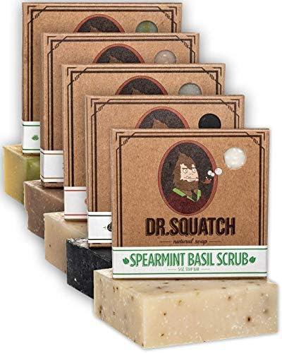 Dr Squatch Men s Soap Variety Pack Manly Scent Bar Soaps Cedar Citrus Spearmint Basil Cool Fresh product image